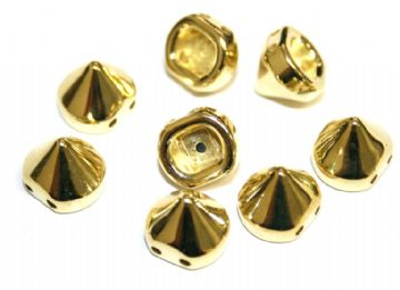 130pcs x 9mm*9mm studs - spike beads -- with 2 holes --  Finish: gold